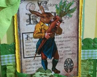 Easter card bunny and carrot handmade card