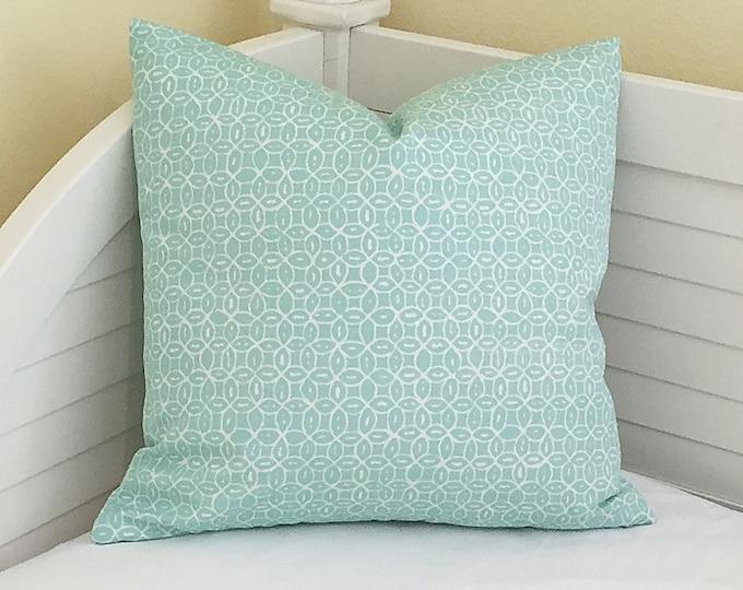 Quadrille China Seas Melong Batik Aqua on White Suncloth Indoor Outdoor Designer Pillow Cover - Square, Lumbar and Euro Sizes
