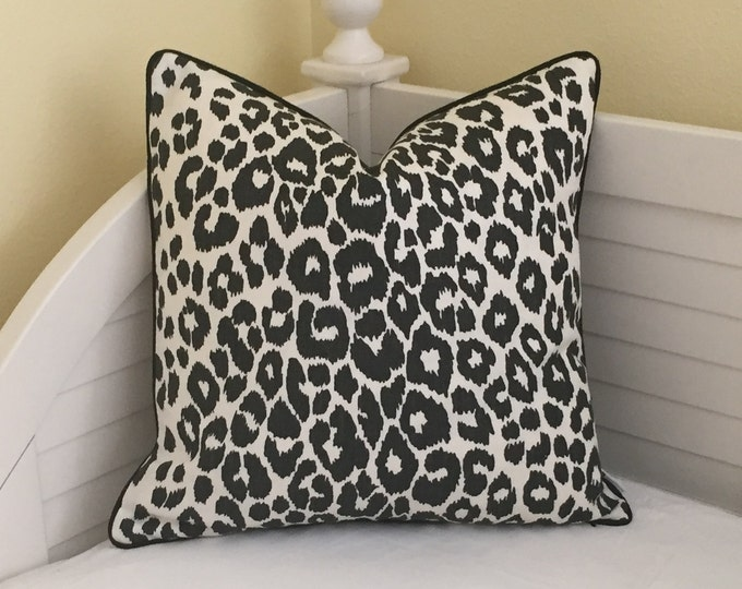 Schumacher OUTDOOR Iconic Leopard in Graphite Designer Pillow Cover with Black Piping - Square, Lumbar and Euro Sizes