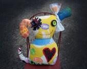 SALE Happy Dog Art Doll, OOAK Original Design, Textile Mixed Media Doll, Colorful printed fabrics, Unique Puppy, Dog Lover gift, Bark, Heart