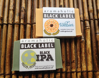 Craft beer soap duo - Witbier soap and Black IPA soap - organic handcrafted beer soap - Aromaholic Black Label collection
