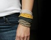 Muted Tones Fiber Bracelet or Necklace Jersey T Shirt Fabric