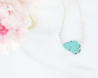 Turquoise on a Beads Swing - Gemstone Necklace - OOAK Unique Shapes Collection - Semi Precious - Ready to Ship - Gift for Her