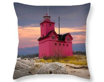Holland Big Red Lighthouse by Lake Michigan Throw Pillow No.0173 seascape decorative novelty pillow Home Décor cushion cover