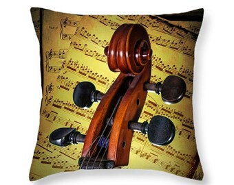 Scroll of a Cello Stringed Instrument with Sheet Music No. 22 - A Fine Art Music Photograph novelty throw pillow Home Décor cushion cover