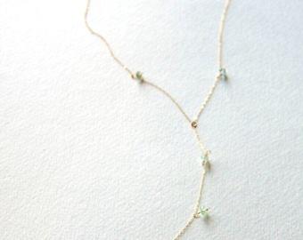 Aquamarine Necklace/Lariat Necklace/ Bridesmaids jewelry/ Gemstone Necklace/Wedding Jewelry