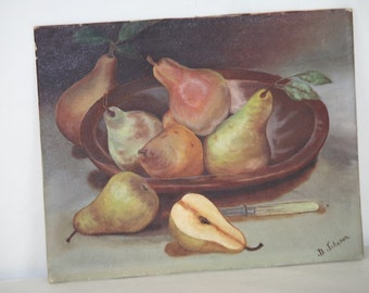 Oil Painting Still Life Fruit Pears in Wood Bowl w Knife D Johnson 8x10 Vintage