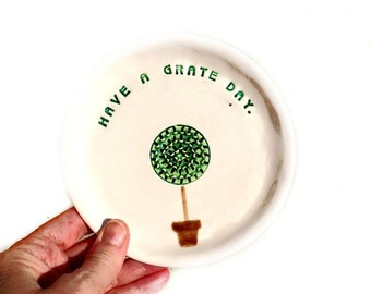 Garlic Grater Plate - Ceramic Grater Plate - Topiary Grater Plate - Kitchen Grater Plate - Unique Garlic Plate - Home Chef Gift -  Foodie