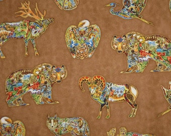 Animal Spirits Print on Brown with Metallic Gold Pure Cotton Fabric--By the Yard