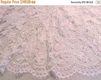 ON SALE White Floral Design Pearl Embellished French Chantilly Lace Fabric--One Yard