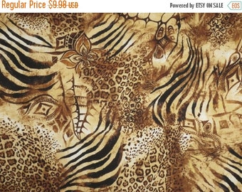 ON SALE Brown Exotic Animal Collage Print Pure Cotton Fabric--One Yard