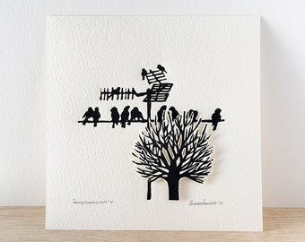 Linoleum block print, leaves less tree, birds on wire,  die cut art, city birds
