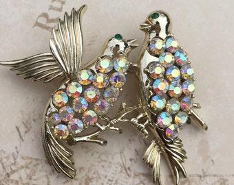 Vintage Coro Rhinestone Birds Brooch, Pair of Birds, Estate Jewelry, aaurora Borealis Bird Brooch