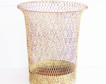 Vintage  Yellow  Wavy Wire Waste Basket
