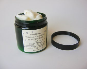 Ginger Almond Whipped Soap, Cream Soap in a Jar, Natural Vegan Soap