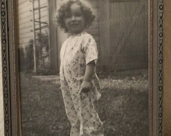 Vintage Framed Photo 1934 Constance Wooden Frame Black and White Adorable