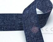 25mm(1'') Double Side Blue Denim Grosgrain Ribbon