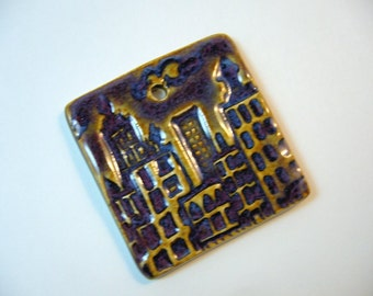 Purple Rain City Ceramic Pendant