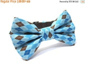 ON SALE Dog Bowtie, Bow tie Dog Collar, Dog Collar Bow, Bow Tie Attachment, Bowtie Dog Collar...Blue Argyle