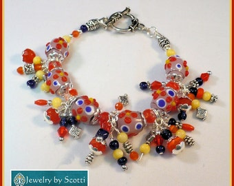 Multicolored Lampwork Charm Bracelet, Cha Cha Bracelet, Lampwork Beaded Bracelet, Multicolored Jewelry, Matching Necklace/Earrings Available