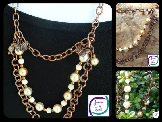 Copper Chain Necklace Triple Strand Cream Colored Pale Peach Pearls Ivory Catseye Beads Butterfly Charms Stunning Statement Necklace