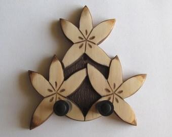 Ukulele wall mount hanger, hand carved floral. Dark brown