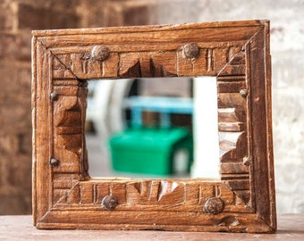 Small Mirror Antique Indian Architectural Elements Jodhpur Boho Global Indian Carved Molding Mirror Moroccan Mirror Mediterranean
