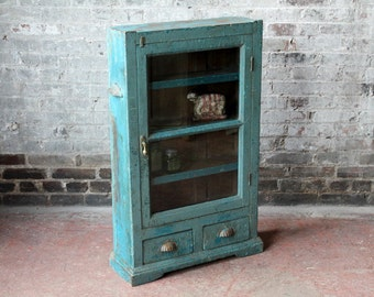Vintage Indian Display Case Moroccan Decor Boho Chic Reclaimed Curio Cabinet Spice Rack Kitchen Storage Oddities Case Import Furniture