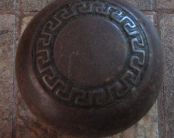 Vintage Rusty Door Knob Doorknob No. 2 of 2 Greek Key Design
