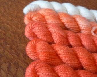 Handpainted Mini Skeins Fingering Weight Superwash Merino Nylon Sock Yarn- Gradient Deep Orange 5 pack