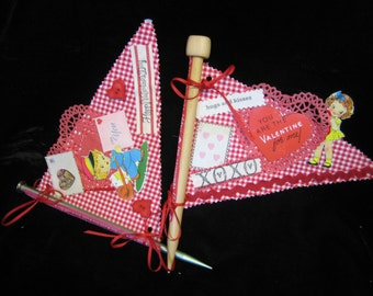 Valentine knitting needle flag