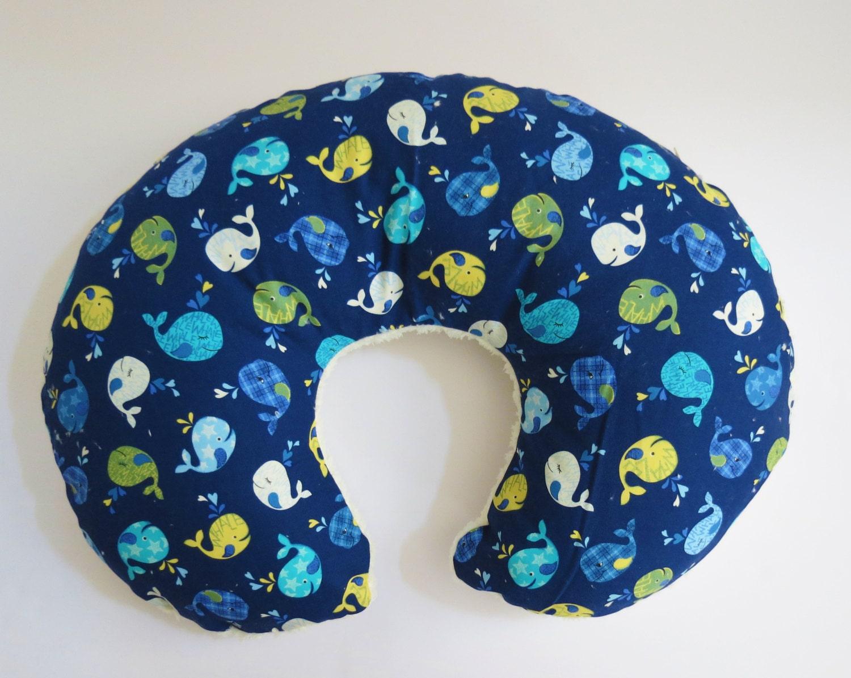 Reversible Boppy Nursing Pillow Cover Whales On Navy Blue