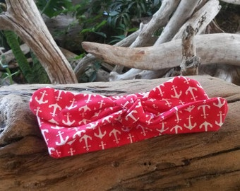 Knit Bow Headband- Coral Anchor Print