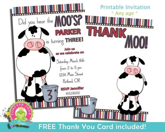 Printable Invitations - Digital Invitations - Cow Invitations - Cow Invites - Barnyard Invites - Farm Invitation - Birthday Party Invitation