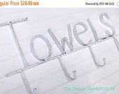 On Sale Towel Rack / Towel Hook / White Bathroom Decor /Shabby Chic Bathroom /Beach Towel Hook / Pool House