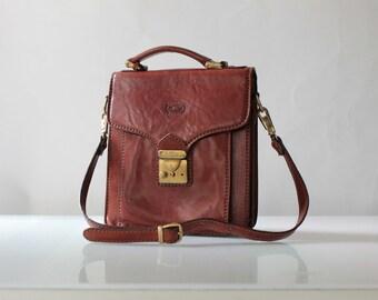 Vintage Conte Max Leather School Satchel // Saddle Brown Leather Gusset Shoulder Bag