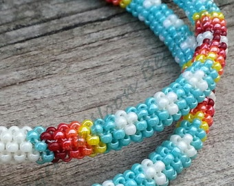 Native American Beaded Earrings - Peyote Stitch Hoop Earrings - XL - Turquoise and Navajo White