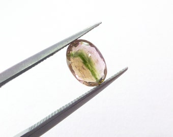 Bicolor Tourmaline Gemstone. SUPER Bright. No Treatments. Native Cut. Table Down For Rose Cut. 1 pc. 1.0 cts. 5.5x8x3.5 mm  (TM2341)