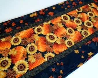Quilted Fall Table Runner with Sunflowers and Pumpkins, Autumn Quilted Table Topper, Fall Quilt, Fall Leaves Runner, Thanksgiving Decor