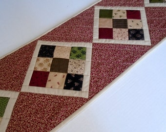 Primitive Reproduction Quilted Table Runner, Patchwork Table Runner,  Country Quilted Table Topper, Burgundy Tan Green Black