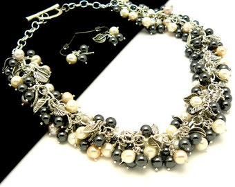 Freshwater pearl and hematite necklace and earrings