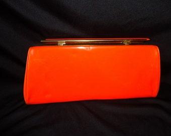 Orange Patent Leather MAD MEN Vintage 1960's Women's CLUTCH Purse