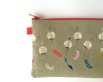 Japanese Fabric, Pencil Pouch, Pencil Case, Cotton and Steel Zephyr, Wind Chimes, Gray. Furin.