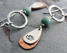 Lotus Flower Earrings, Yoga Earrings, Sterling Silver, Copper, Teardrop Earrings, Mixed Metal, Yoga Jewelry, Dainty Earrings