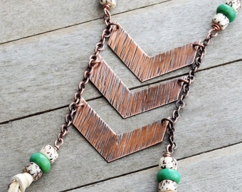 Long Chevron Necklace, Leather Tassel Necklace, Boho Chic Jewelry