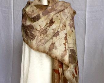 Eco Printed Merino Wool Wrap
