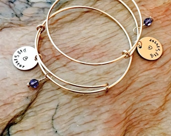 Custom Hand Stamped Charm Bangle Bracelet, Custom Stamped Adjustable Bangle, Personalized  Adjustable Bracelet,Your Name,Birthstone,Initials
