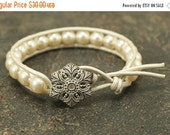 Winter White Jewelry Unique Pearl and Leather Wrap Bracelet Ivory Cream Winter White Bracelet Sale Jewelry