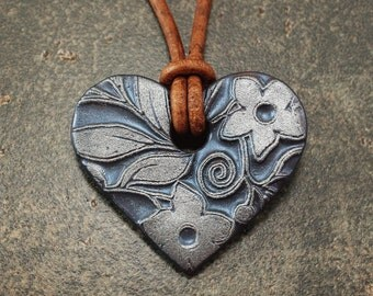 Navy Blue Heart Necklace Unique Leather Necklace Silver Floral Pendant Necklace Artisan Heart Jewelry Leather Necklace