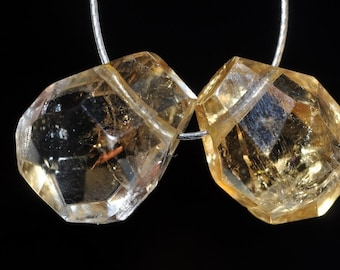 2 Pieces 10x13x7mm Sunray~Genuine Un-Treated YELLOW CITRINE Faceted Flat Pear Briolette Beads ***Old Stock- I1035